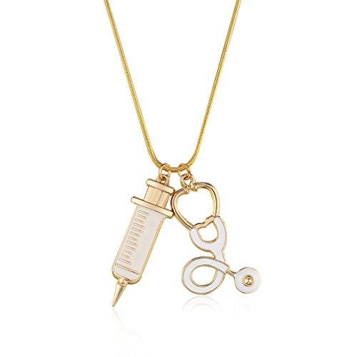 NiceButy Alloy Medical Stethoskop Charm Syringe Halskette Kette Frauen Schmuck Schmuck Accessoires