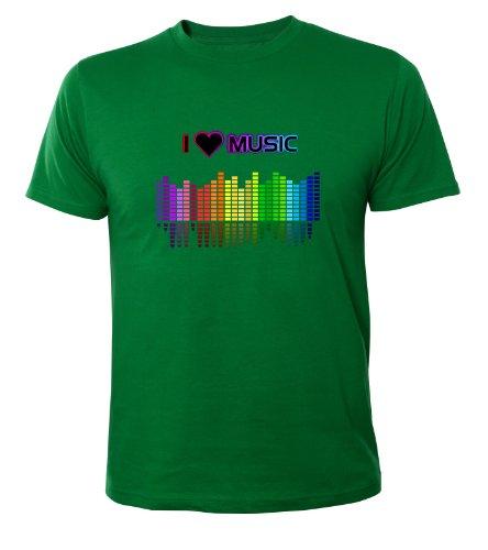 Mister Merchandise Cooles Fun T-Shirt I love Music Grün