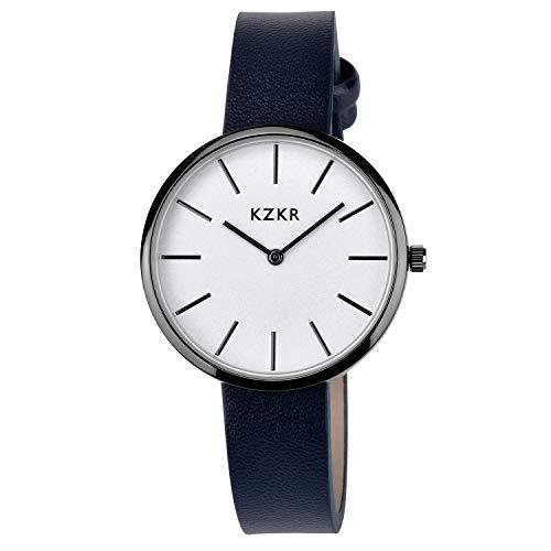 KZKR Damen Armbanduhren Fashion Damen Uhren prägnant super Dünne Analog Zifferblatt Leder Armband blau