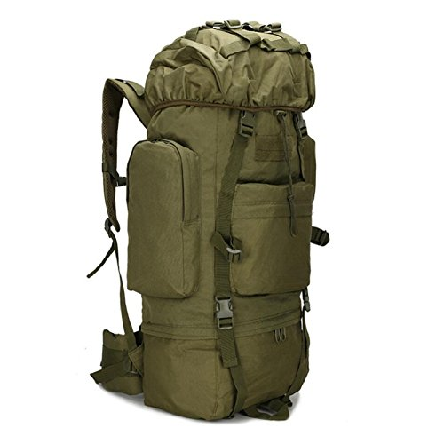 ZX&Q Upgrade Edition 65L Large Capacity Mountaineering Outdoor Camping Wandern Wasserdichte Abdeckung Komfortable Breathable Extended Camouflage Oxford Tactical Rucksack C