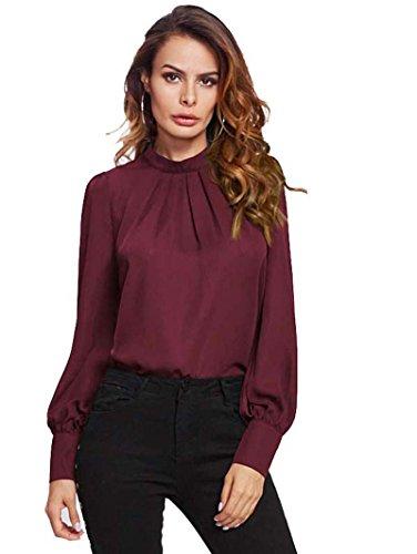 ROMWE Damen Elegant Chiffonbluse Stehkragen Langarm Tunika Bluse Burgundy XL