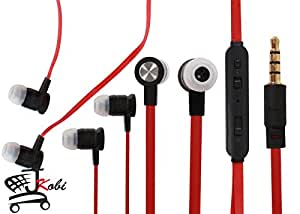 Premium Quality Volume Control In Ear Bud Headset Earphones With Mic Compatible For Micromax Canvas Knight 2 E471 -Black With Red