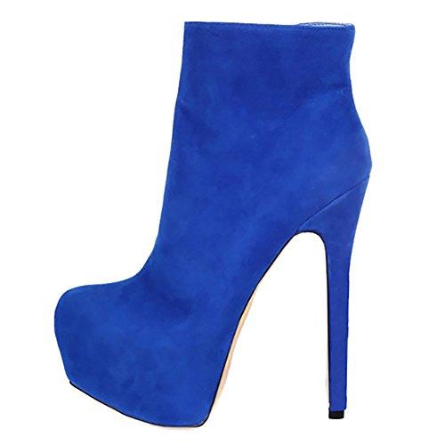 MERUMOTE Damen Stiletto Plattform Zipper Sexy Hochzeit Kurze Stiefel EU  35-46 Blau-Wildleder