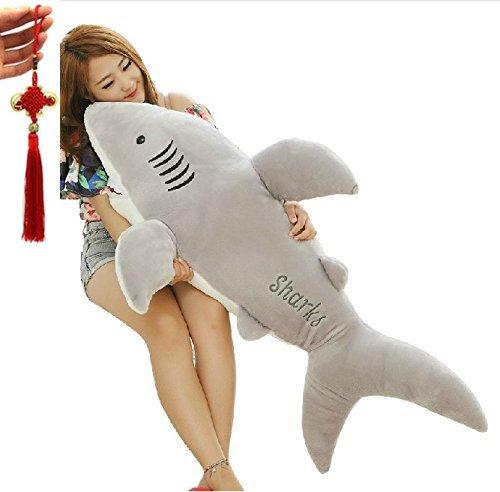 YunNasi Shark-Plüsch-Kissen 80cm Spielzeug Kind Grau