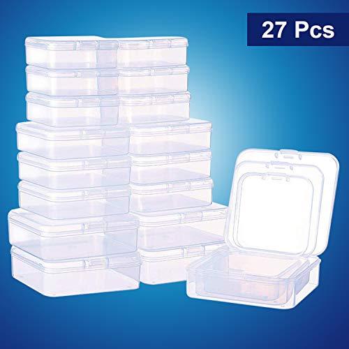 (Perlen Aufbewahrungs Behälter (27er Set) - Rechteckige Kunststoff Aufbewahrungsbox mit Deckel in 3 Größen - Stapel-Box - Transparente Sortierbox für Pillen Kräuter Schmuck Glitzer Kosmetika Schleim)