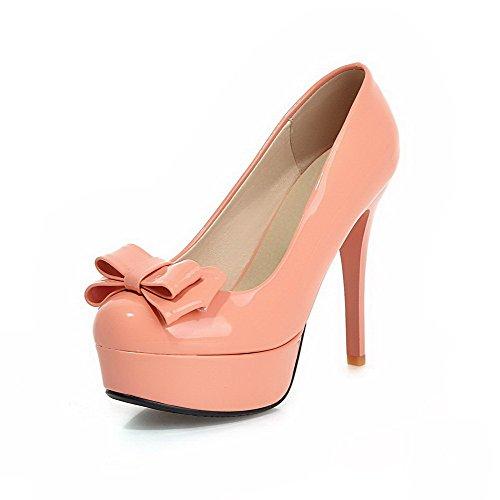 AllhqFashion Damen Ziehen Auf Pu Leder Rund Zehe Rein Stiletto Pumps Schuhe Pink