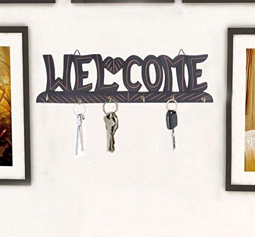 Geschenk zum Vater am Vatertag Hölzerner Willkommensschlüsselhalter, Schlüsselaufhänger, 6 Haken Aufhänger, kleine schwarze Farben-Hängen, Wand Dekorative Schlüsselkasten