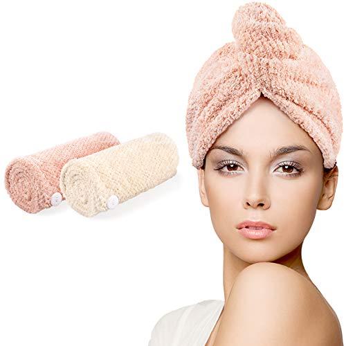 HWeggo Cheveux Séchage Serviettes, Serviettes pour Cheveux, Super Absorbant en Microfibre Serviette pour Cheveux Turban avec Bouton de Design Cheveux Secs Rapidement (Vert et Rose)