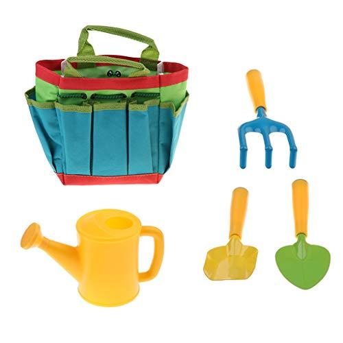 P PRETTYIA 5 in 1 Schaufel Rechen Gabel Gießkanne Tasche Gartengeräte Werkzeug Set für Kinder
