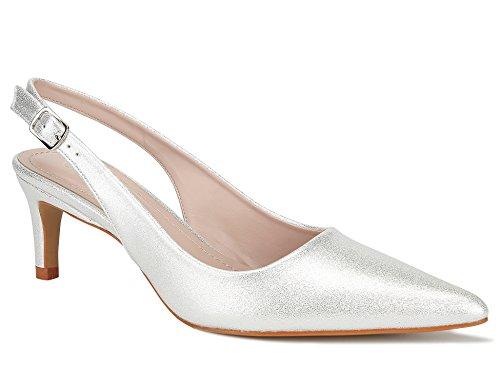 MaxMuxun Damen Klassische Slingback Schnalle Sandalen Elegant High Heel Pumps Silber Größe 39 EU -