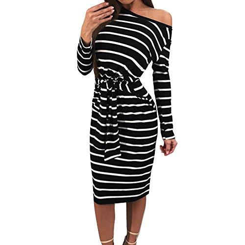 Geili Damen Herbst Freizeit O-Ausschnitt Langarm Striped Kleider Dress Frauen Elegant Bodycon Knielang Etuikleid Pencilkleid Party Cocktailkleid