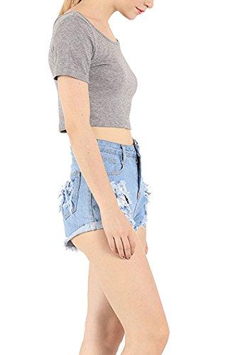 Frauen Tanktops T-Shirts Blusen Oberteile Mini Kurzarm U Ausschnitt Rückenfrei Schlank Dünn Einfarbig Bauchfrei Grau
