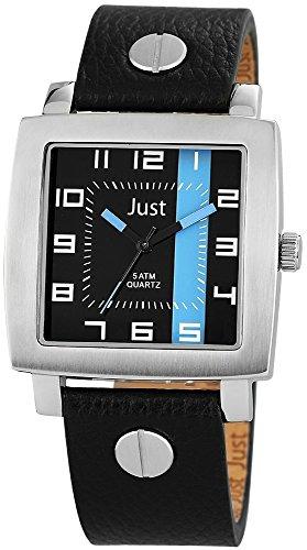 Just Watches 48-S10445-BK-BL - Orologio da polso uomo, pelle, colore: nero