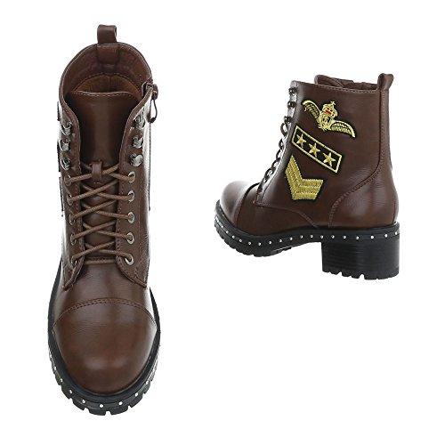 Schnürstiefeletten Damenschuhe Schnürstiefeletten Blockabsatz Schnürer Reißverschluss Ital-Design Stiefeletten Braun 77-5