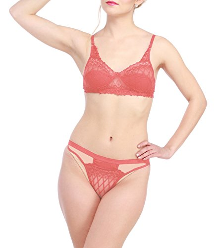 Glus Women /Bridal Nude Skin Full Net Bra And String Bikini Set , Cup Size - B (Peach, 36)  available at amazon for Rs.349