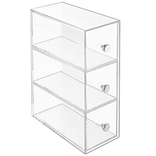 InterDesign Drawers Schubladen Organizer | drehbare Badezimmerablage mit 3 Schubladen für Kosmetik & Accessoires | Schubladenbox auch für Büro Zubehör | Kunststoff transparent