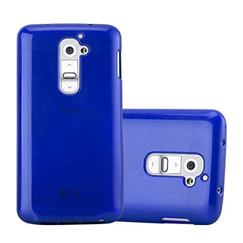 Cadorabo Hülle für LG G2 - Hülle in BLAU - Handyhülle aus TPU Silikon in gebürsteter Edelstahloptik (Brushed) Silikonhülle Schutzhülle Soft Back Cover Case Bumper Blau Back Case