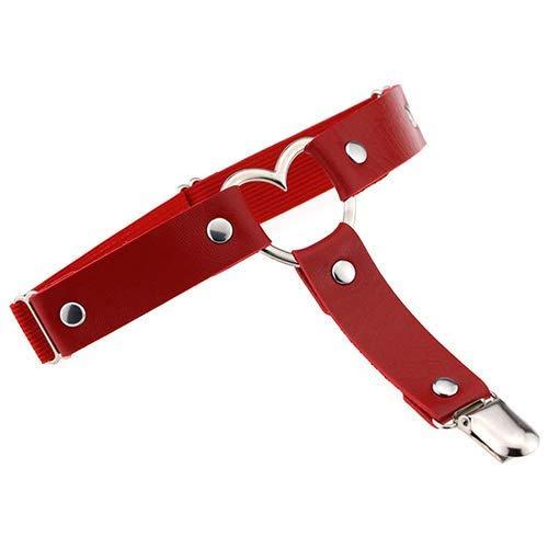 uyhghjhb Sexy Elasticidad de Las Mujeres Harajuku corazón imitación de Cuero Punk Liguero Cinturones Tirante Apretado Rojo