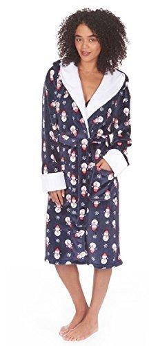 Donna Design Natalizio Super Morbido Al Tatto Vestaglia Con Cappuccio Blu Navy Pupazzo Di Neve