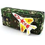 SHERAGO™ Pen/Pencil Box For Girls & Boys || Best Suitable For School Kids, Travelers And Students || Multipurpose Box/Case Military Print With Airplane (Light Green)