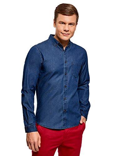 Oodji ultra uomo camicia in jeans con taschino, blu, it 50-52/eu 52-54/l