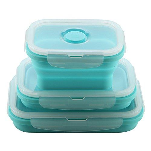 Silicona plegable recipientes de almacenamiento de alimentos plegable, 3unidades reutilizable sin BPA almuerzo Bento caja congelador para horno