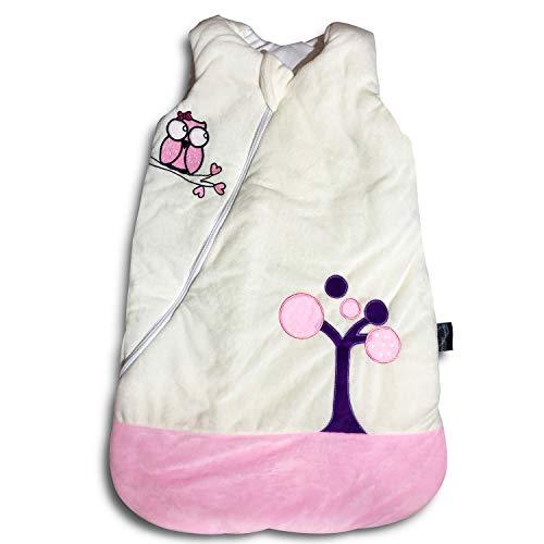 Ganzjahres Baby-Schlafsack in 70cm länge| rosa/beige mit Eulenmotiv | Wattiert mit Baumwolle | Ganzjährig in 2,5TOG | Erstausstattung für neugeborene Mädchen zwischen 0-10 Monate von MF-Products