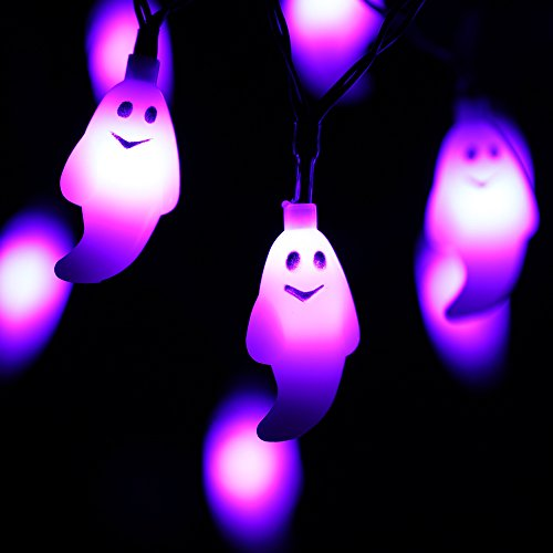 RECESKY Lila Gespenst Lichterketten - 20 LED 2.5m Batteriebetriebenes Halloween Lichterketten - für Halloween lichter, Halloween Party Dekor, Halloween Dekoration, Halloween Beleuchtung, Innen, Feiertag, (Beleuchtung Halloween)