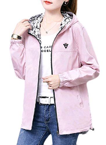 Andopa Damen plus size reversible hooded zip-up jacke trench coat 3XL Rosa Plus-size-reversible Coat