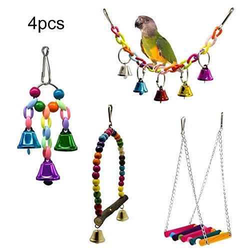 4 Teile/satz Hängende Brücke Bell String Kauen Spielzeug, Bunte Ball Kauen Spielzeug Schaukel Spielzeug Hängen Spielzeug für Vogel Papagei Afrikanische Graue Macaw Budgie Parakeet Käfig Zubehör -