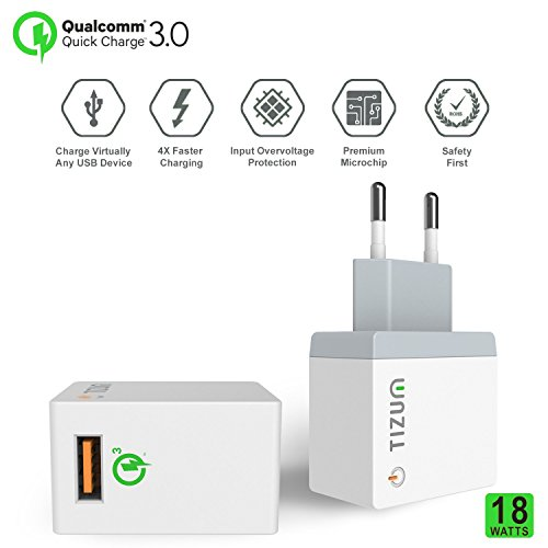 Qualcomm® Certified Quick Charge 3.0 18W USB Wall Power Adapter with MICRO CABLE for Smartphones, Tabs, GPS, Music Players & more