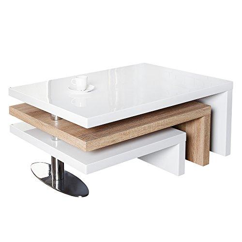 Invicta Interior Funktioneller Design Couchtisch HIGHCLASS Hochglanz Lack Weiss Sonoma Eiche Tisch -