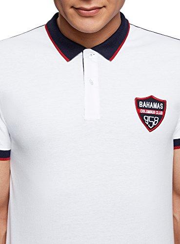 oodji Ultra Herren Poloshirt mit Kontrastbesatz und Applikation Weiß (1079B)
