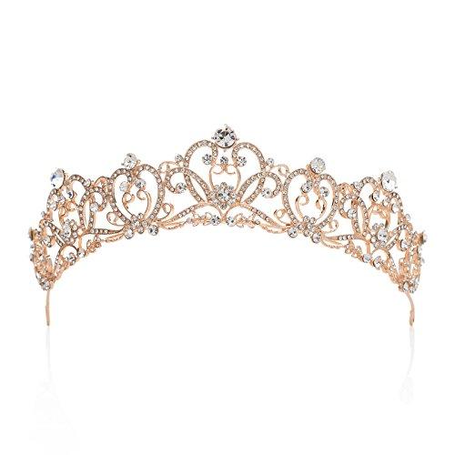 SWEETV Retro Stil Haarzusätze Strass Hochzeit Krone Braut Tiara Kristalle Diadem für Festzüge Abschlussbälle, Roségold