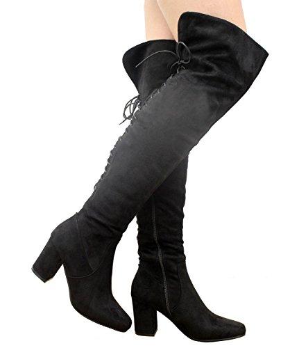 Saute Styles , Bottes cuissardes femme Black Suede Lace Up