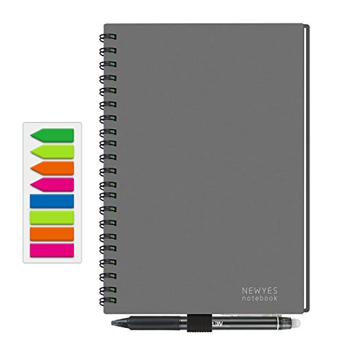 NEWYES Reusable Smart Notebook Erasable Wirebound Notebook Sketch Pads APP Storage (Gray, A5)