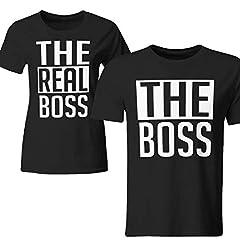 Idea Regalo - Tuttoinunclick Coppia di Magliette t Shirt The Real Boss Idea Regalo San Valentino Amore GR379