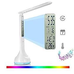 Fitfirst Lampe De Bureau LED 3 Modes De Luminosité, 7 Couleurs De La Base, Lumière Réglables Avec Contrôle Tactile, Chargeur USB, Fonction Réveil,Calendrier,Lampe De Lecture Pliante 180°