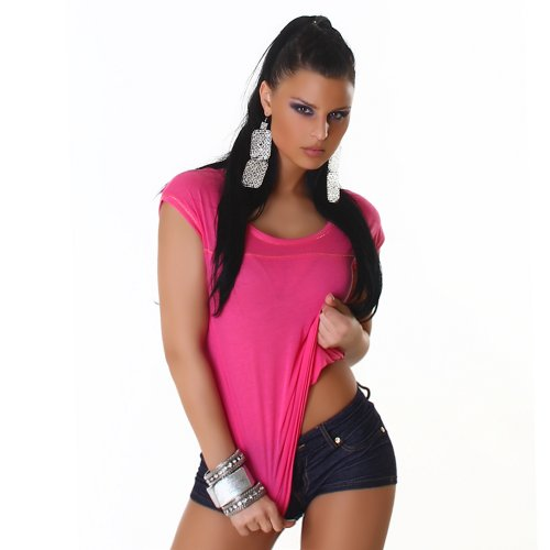 Damen Top Shirt Rundhals Onesize trendige Farben Pink