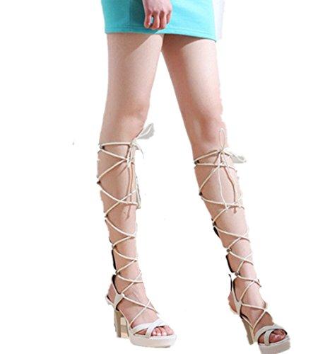 11672357bc2a5 Wealsex Sandale Suédé Hauteur Genou Talons Haute Plateforme Bout Ouvert  Sandales Spartiates Lacets Bandage Femme Blanc