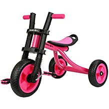 Fascol Triciclo Trike Bicicleta con Goma de Ruedas para Niños, 2 a 5 Años,Máx Carga 25 kg,Rosa