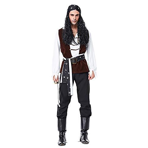 Kostüm Rogue Pirate - HOOLAZA Herrenpiraten der Karibik Kostüm Rogue Pirate 6-teiliges Kostüm-Set
