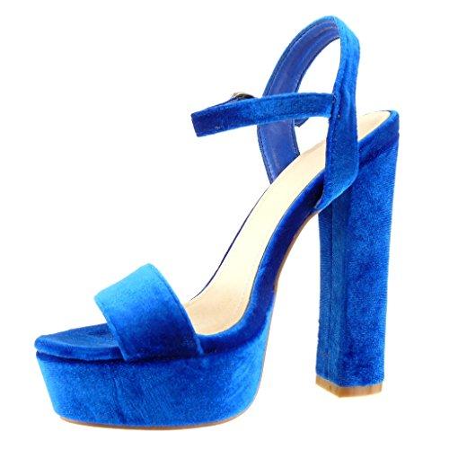 Angkorly Damen Schuhe Sandalen Pumpe - Plateauschuhe - String Tanga Blockabsatz High Heel 15 cm Marineblauen