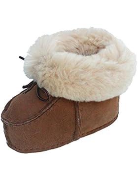 warme Lammfell Babyschuhe camel mit Fellkragen und Kordel, Gerbung ohne schädliche Stoffe, Gr. 17-18