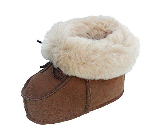 warme Lammfell Babyschuhe camel mit Fellkragen und Kordel, Gerbung ohne schädliche Stoffe, Gr. 17-18 Braun
