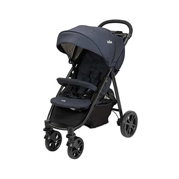Joie Litetrax 4 Pushchair Navy Blazer  Bumper bar, raincover, shopping basket and parent tray with cupholders UPF 50+ sun canopy and oversized expandable hood SoftTouch 5-point safety harness adjusts to 3 heights 4-position recline and 2-position leg rest One-hand instant fold with automatic lock 8