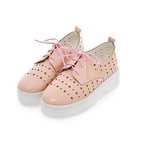 VogueZone009 Damen Weiches Material Zehe Rund Niedriger Absatz Schnüren Rein Pumps Schuhe Pink