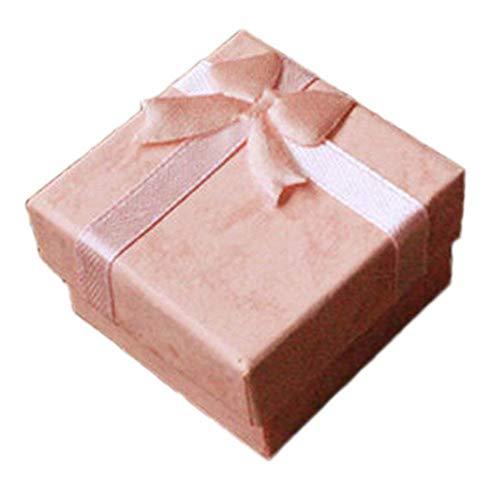 Mackur Rose Mini-Schleife Stil Boxen für Ring Ohrring Schmuck Geschenk Aufbewahrung Paket Papier Box 4*4*2,5cm 5 Stück -