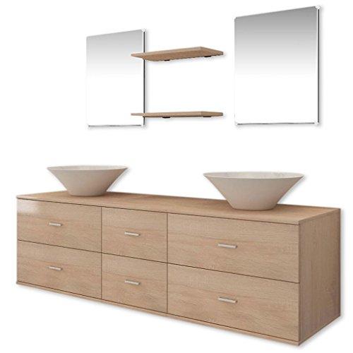 Vidaxl set 7 mobili da bagno armadietti specchio lavabo lavandino elegante beige