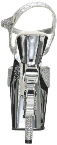 Pleaser REVOLVER-709G Damen Plateau High Heels Silber